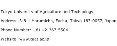 Tokyo University of Agriculture and Technology Address Contact Number