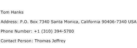 Tom Hanks Address Contact Number