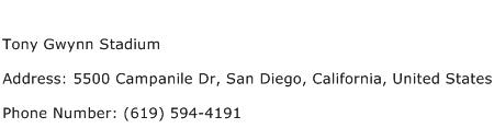 Tony Gwynn Stadium Address Contact Number