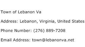 Town of Lebanon Va Address Contact Number