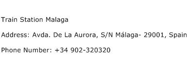 Train Station Malaga Address Contact Number