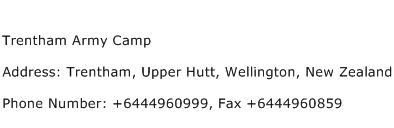 Trentham Army Camp Address Contact Number
