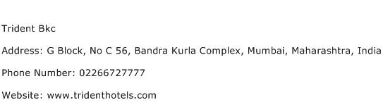 Trident Bkc Address Contact Number