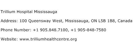 Trillium Hospital Mississauga Address Contact Number