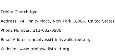 Trinity Church Nyc Address Contact Number