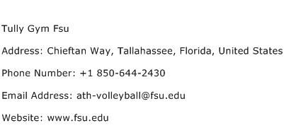 Tully Gym Fsu Address Contact Number