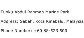 Tunku Abdul Rahman Marine Park Address Contact Number