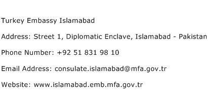 Turkey Embassy Islamabad Address Contact Number
