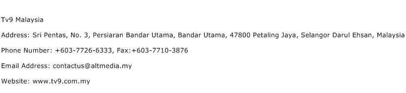 Tv9 Malaysia Address Contact Number
