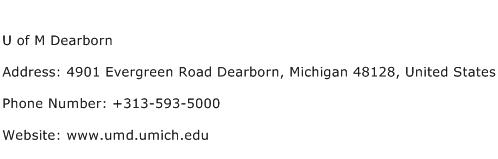 U of M Dearborn Address Contact Number