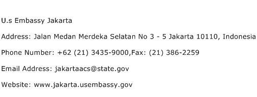 U.s Embassy Jakarta Address Contact Number
