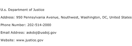 U.s. Department of Justice Address Contact Number