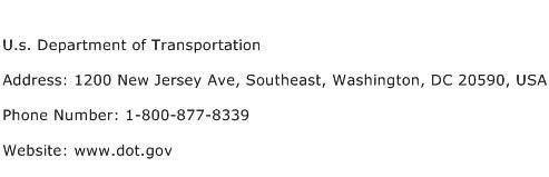 U.s. Department of Transportation Address Contact Number