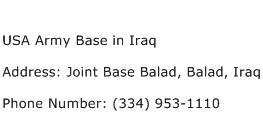 USA Army Base in Iraq Address Contact Number