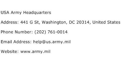 USA Army Headquarters Address Contact Number