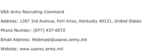 USA Army Recruiting Command Address Contact Number