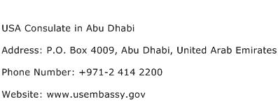 USA Consulate in Abu Dhabi Address Contact Number