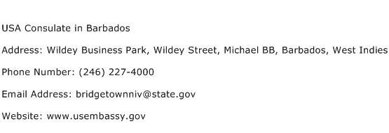 USA Consulate in Barbados Address Contact Number