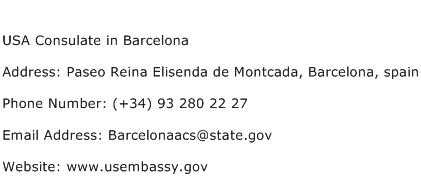 USA Consulate in Barcelona Address Contact Number