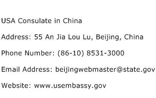 USA Consulate in China Address Contact Number