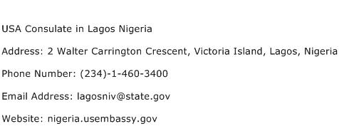 USA Consulate in Lagos Nigeria Address Contact Number
