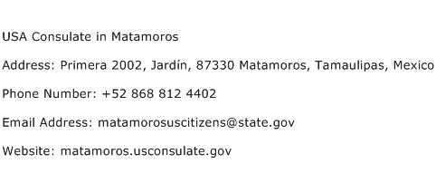 USA Consulate in Matamoros Address Contact Number