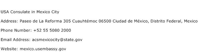 USA Consulate in Mexico City Address Contact Number