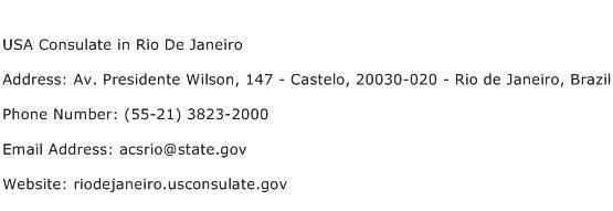 USA Consulate in Rio De Janeiro Address Contact Number