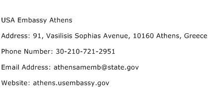 USA Embassy Athens Address Contact Number