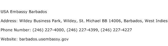 USA Embassy Barbados Address Contact Number