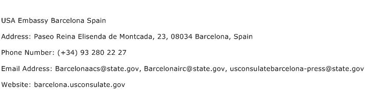 USA Embassy Barcelona Spain Address Contact Number
