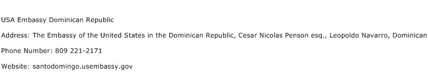 USA Embassy Dominican Republic Address Contact Number