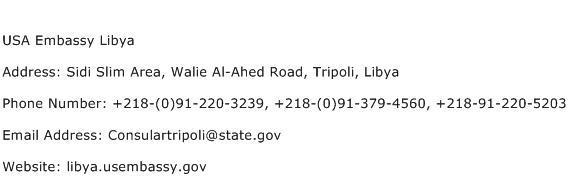 USA Embassy Libya Address Contact Number
