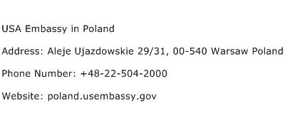 USA Embassy in Poland Address Contact Number