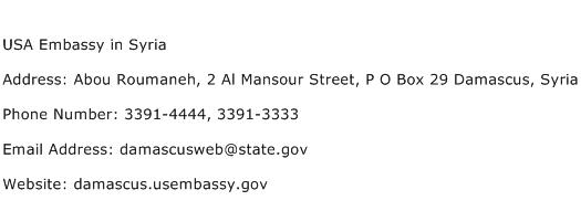 USA Embassy in Syria Address Contact Number