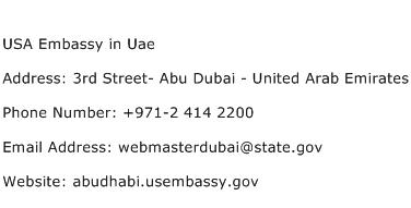 USA Embassy in Uae Address Contact Number