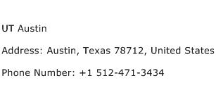 UT Austin Address Contact Number