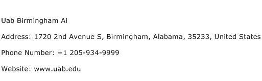 Uab Birmingham Al Address Contact Number