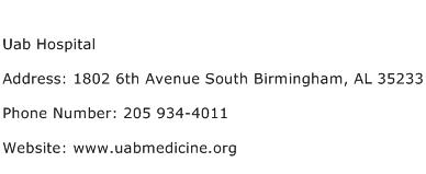 Uab Hospital Address Contact Number