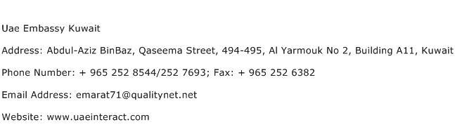Uae Embassy Kuwait Address Contact Number