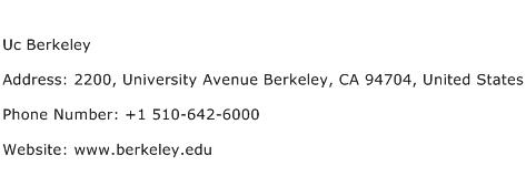 Uc Berkeley Address Contact Number