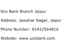 Uco Bank Branch Jaipur Address Contact Number