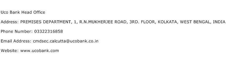 Uco Bank Head Office Address Contact Number