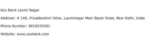 Uco Bank Laxmi Nagar Address Contact Number