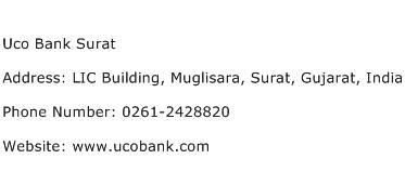 Uco Bank Surat Address Contact Number