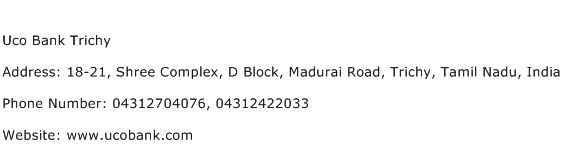 Uco Bank Trichy Address Contact Number