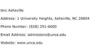 Unc Asheville Address Contact Number