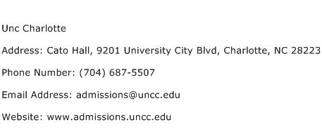 Unc Charlotte Address Contact Number