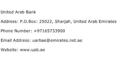United Arab Bank Address Contact Number