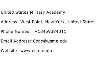 United States Military Academy Address Contact Number